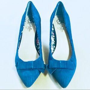 Anthropologie Seychelles Corduroy Blue Kitten Heel